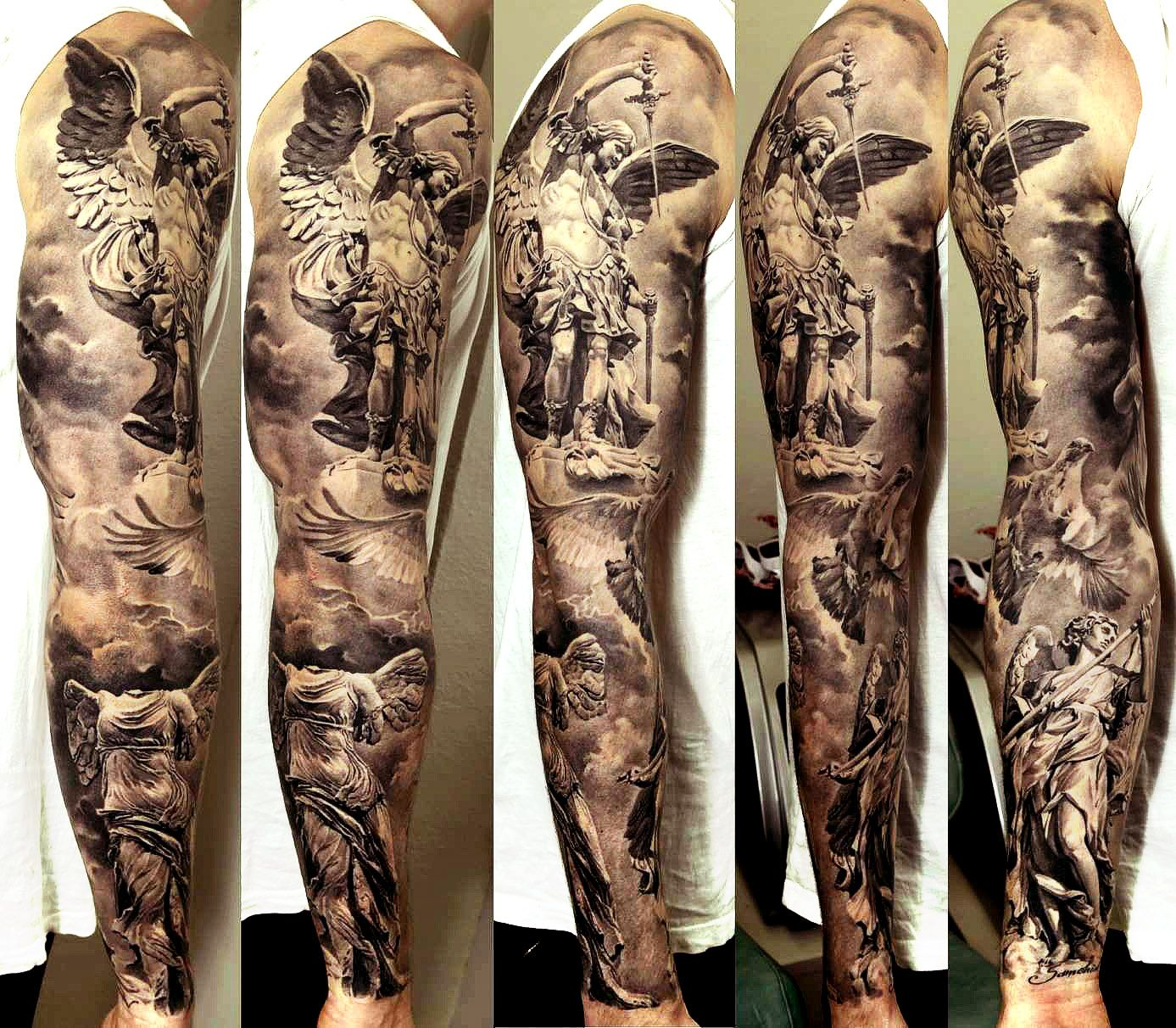 Black and white angels themed sleeve #tattoo. | via tattooties.com