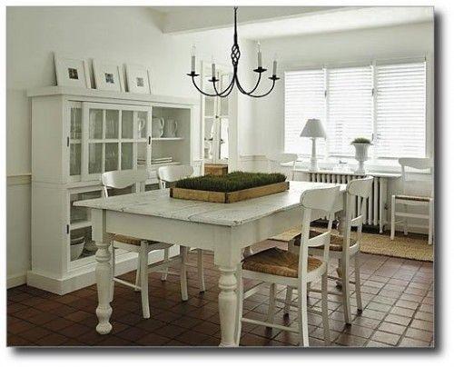 White Farmhouse Table From Next Level Design In Ontario Canada Grass CenterpieceDining