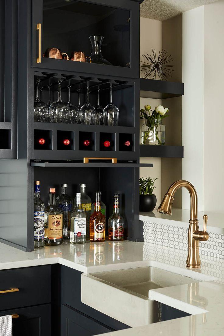 Beautiful bar modern farmhouse basement traditional