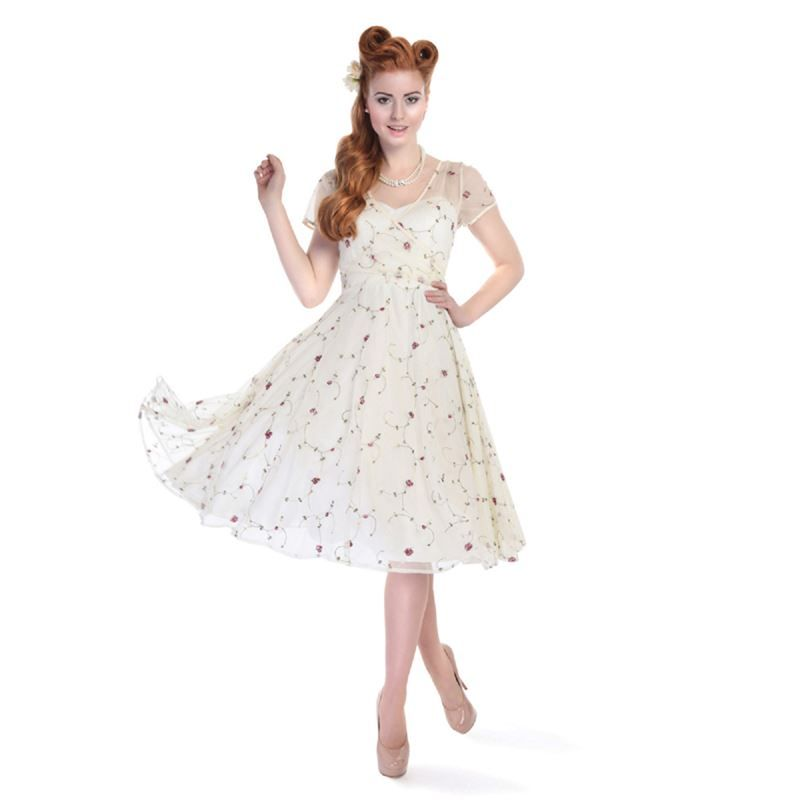 28204fc5e182 Collectif 50s Style Nina Ivory Floral Embroidered Tulle Swing Dress ...