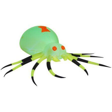 Gemmy Airblown Inflatable 35\u0027 X 115\u0027 Giant Neon Green Spider - halloween decorations at walmart