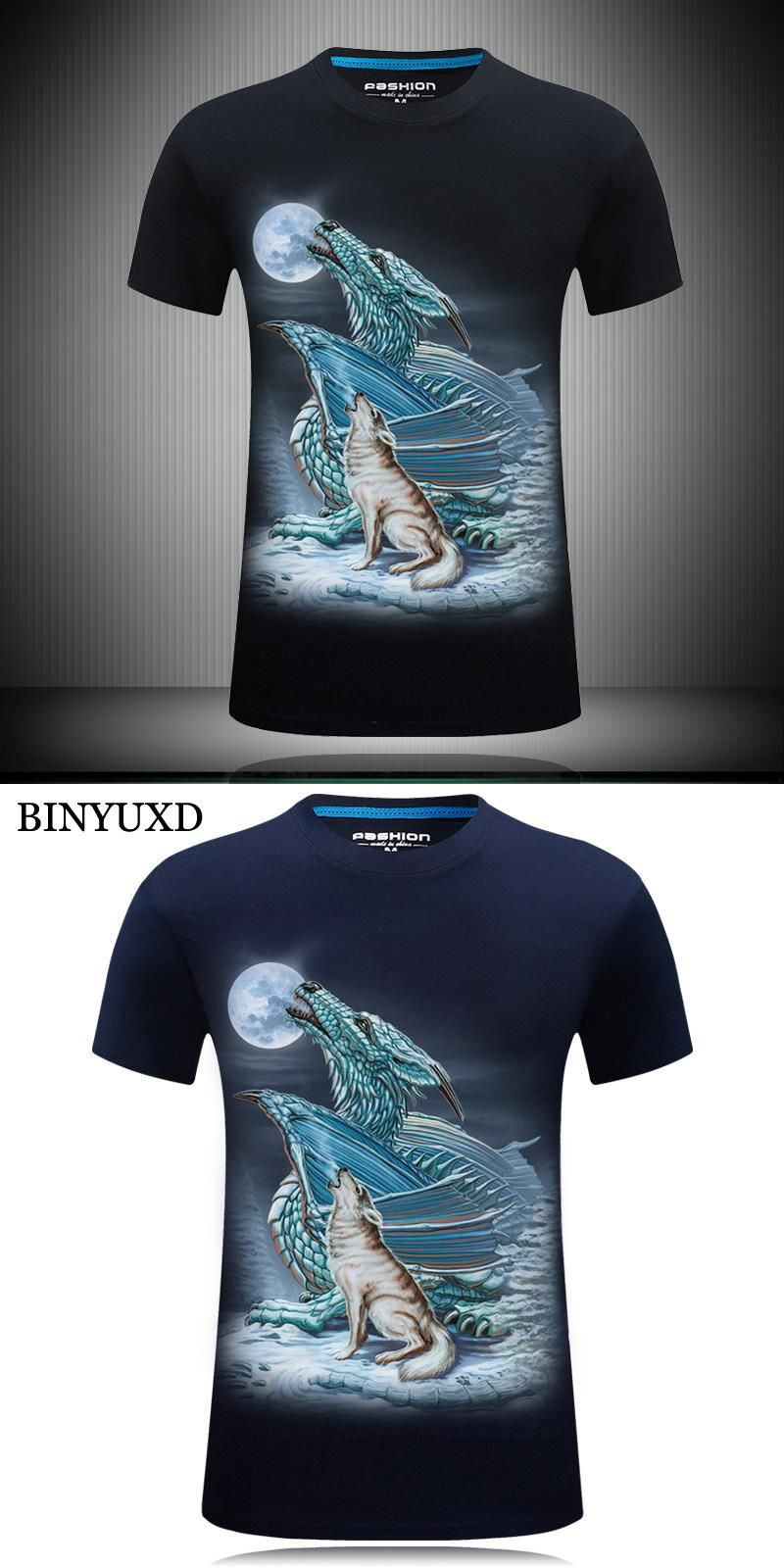 BINYUXD Cotton 3D Printed Dragon Tiger T Shirts Mens Brand Clothing 2017  Fashion Stylish Designer Tee cc0efb2e686a