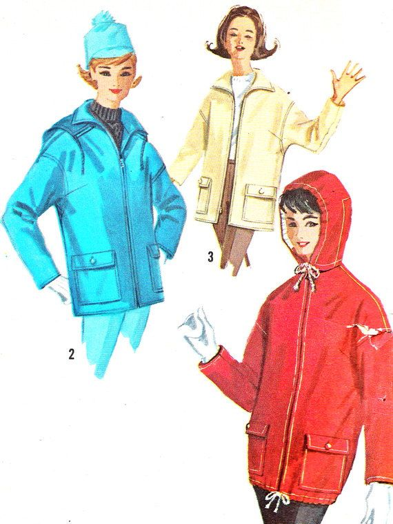 1960s Hooded Jacket Pattern Simplicity 5138 Womens Front Zip ...