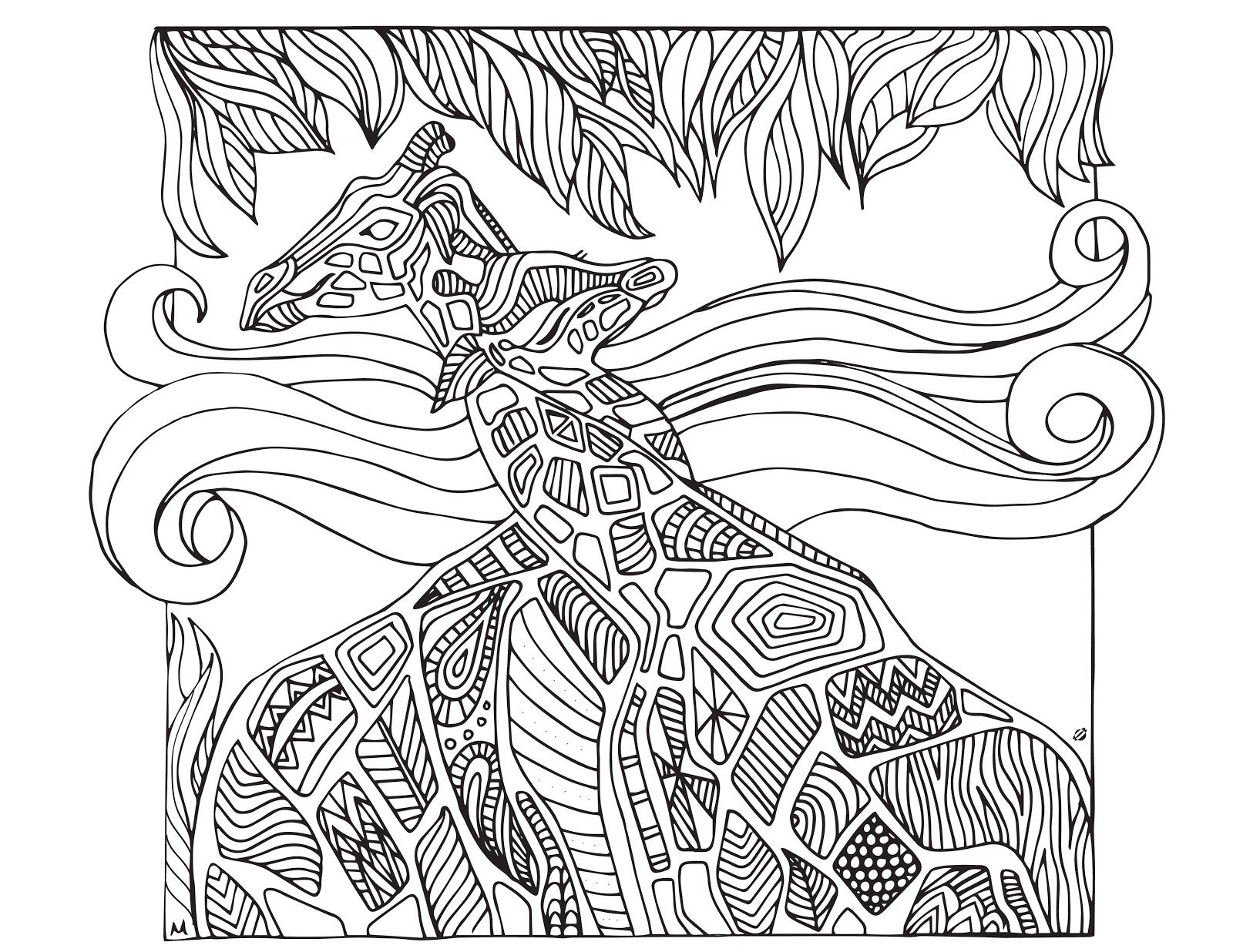 grown up colouring sheets giraffes - Grown Up Coloring