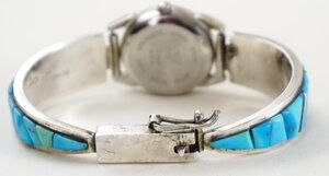 Photo of Item #913E- Vintage Ladies Zuni/Laguna Turquoise Raised Inlay Sterling Silver Watch Bracelet w/ Liberty Chief Watchface —Native American Watch Bracelets- EAGLE ROCK TRADING POST-Native American Jewelry