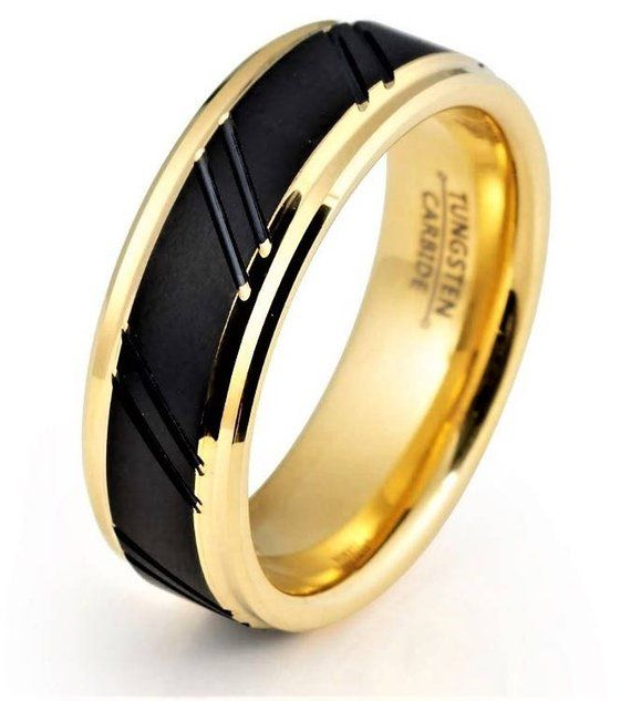 d18f48e956 Tungsten Ring Yellow Gold Wedding Band Ring Tungsten Carbide 8mm Tungsten  Ring Female Male Wedding B