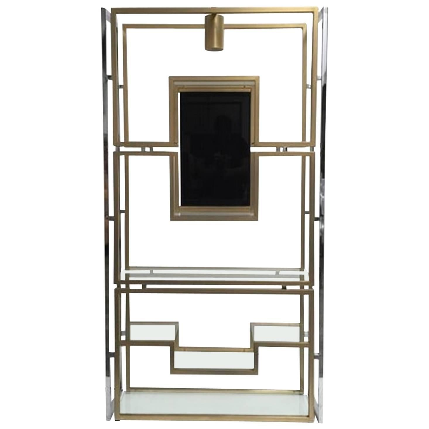 Elegant Étagère by Kim Moltzer, Finished in Brass, Chrome, Glass, 1968 | See more antique and modern Vitrines at https://www.1stdibs.com/furniture/storage-case-pieces/vitrines