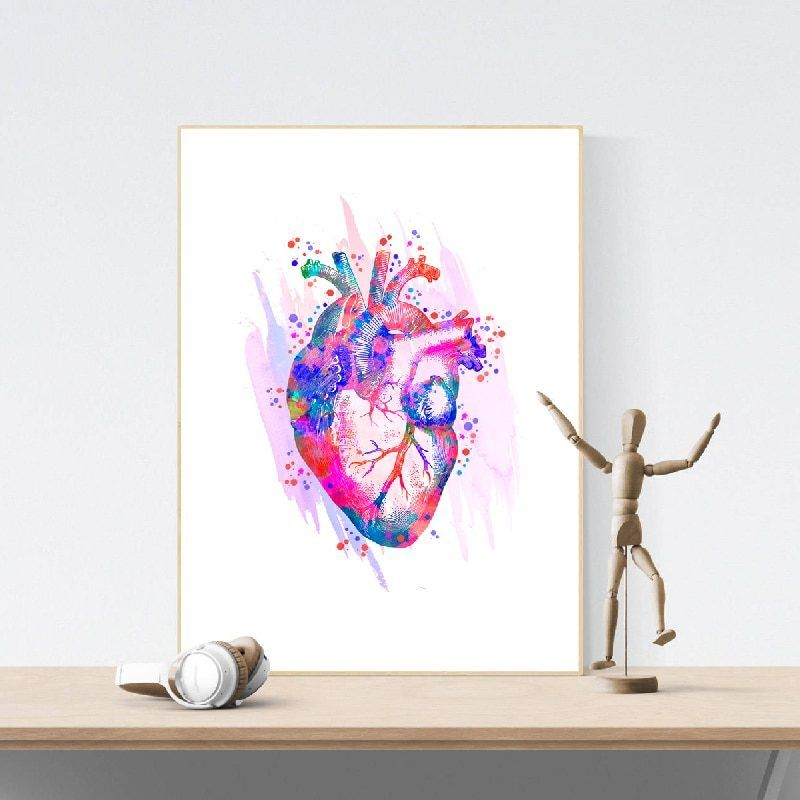 Human Heart Anatomical Art Posters and Prints Medical Anatomy Wall Art Painting Watercolor Medicine Picture Doctors Office Decor #doctoroffice