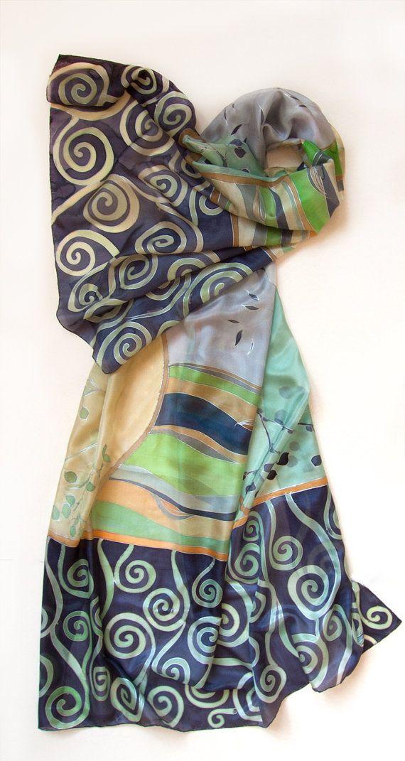 2faacf8c9424 Silk Shawl- Green Spirals  Hand painted silk scarf  Decorative Scarf.  Purple green Scarf. Silk Habotai  luxury gift   Christmas gift woman