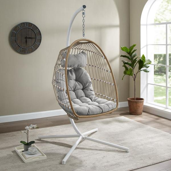 Welwick Designs 1 Person Brown Rattan Patio Swing Egg Chair With White Stand And Gray Cushions Hd8505 The Home D In 2020 Swinging Chair Patio Swing Chair Patio Swing