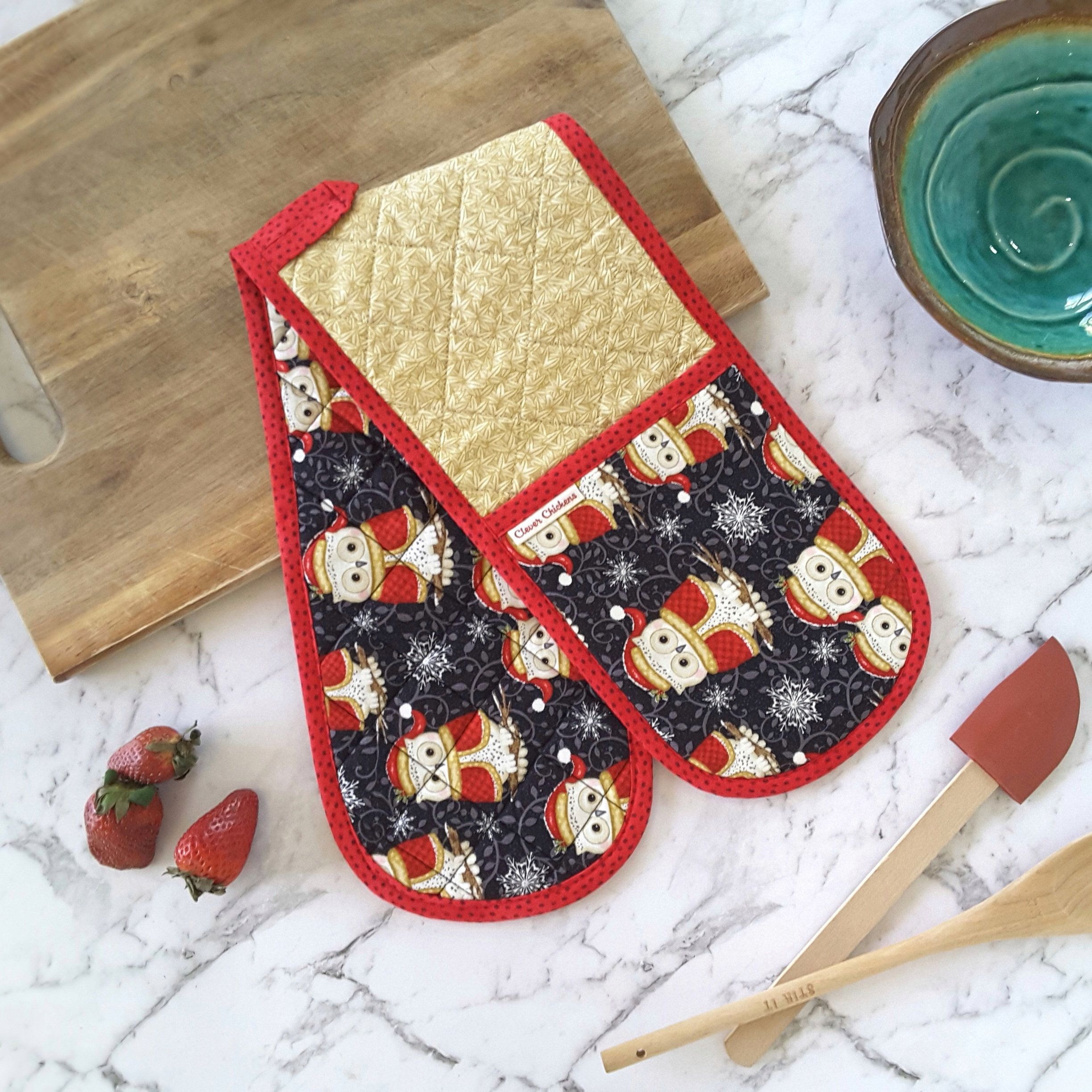 Christmas Owl Oven Glove Holiday Oven Mitt Double Potholders Black Beige Red Librarian Gifts Cute Owl Decor
