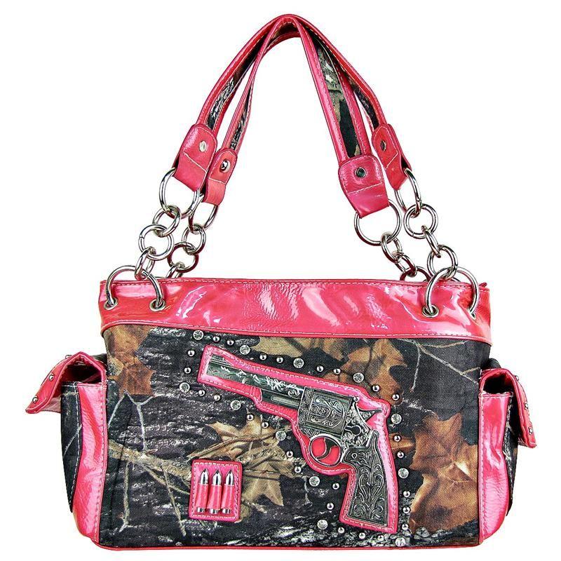 Western Cow Gun Pistol Camo Bling Rhinestone Purse Handbag Pink