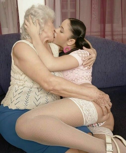 Mature women kissing