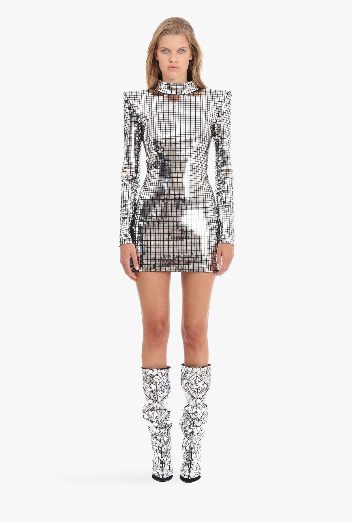 be207754 BALMAIN Structured silver mini dress Dress Woman c | Style ideas ...