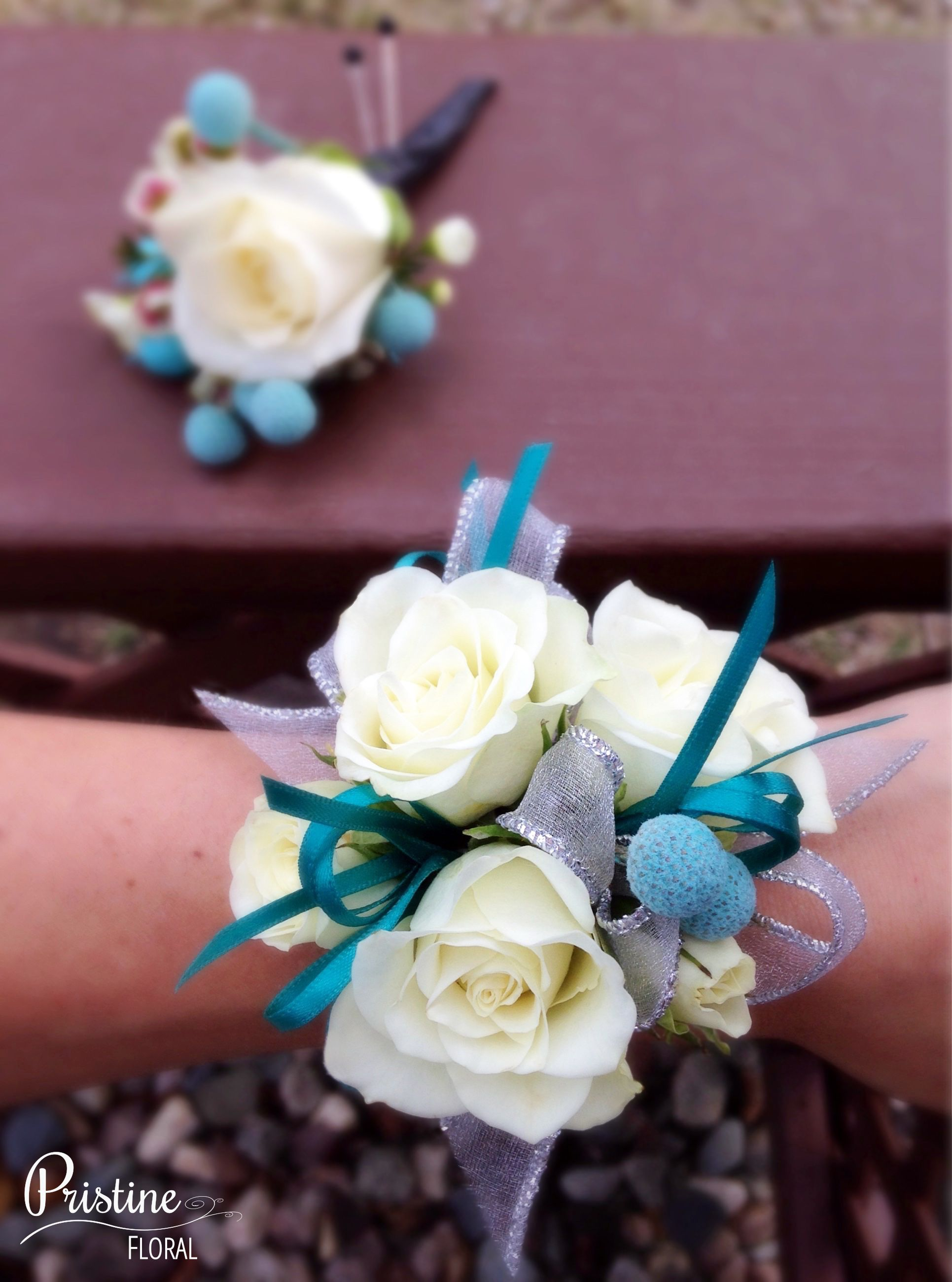 Prom Wrist Corsage White Spray Roses Teal Accents & Matching