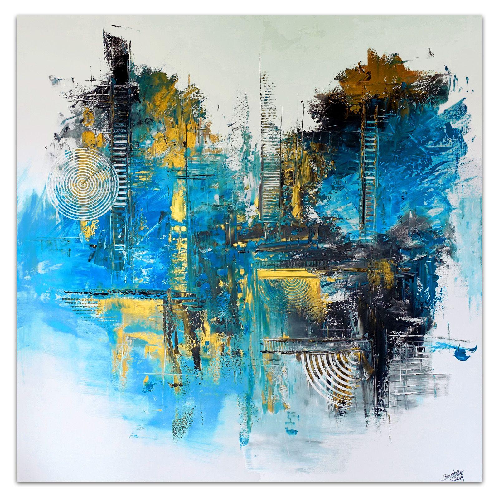 stralsund abstrakte kunst blau kunstler bild malerei abstrakt acrylbild gold bekannte künstler