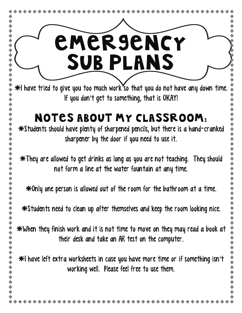 Excellent example of Emergency Sub Plans | Back to School Ideas ...