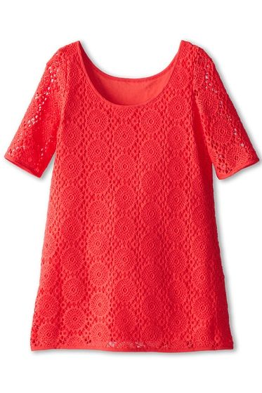 Coral crochet lace shift dress from Lilly Pulitzer Kids. #girls #fashion #dresses