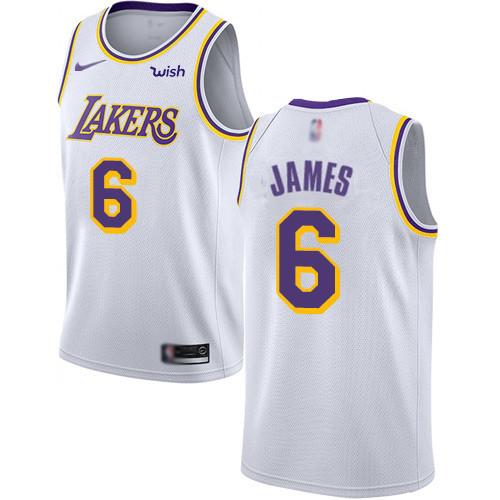 sports shoes 47493 1509d Men's Los Angeles Lakers #6 LeBron James 2019 White Nike ...
