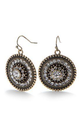 Cynthia Rowley Crystal Circle Drop Earrings