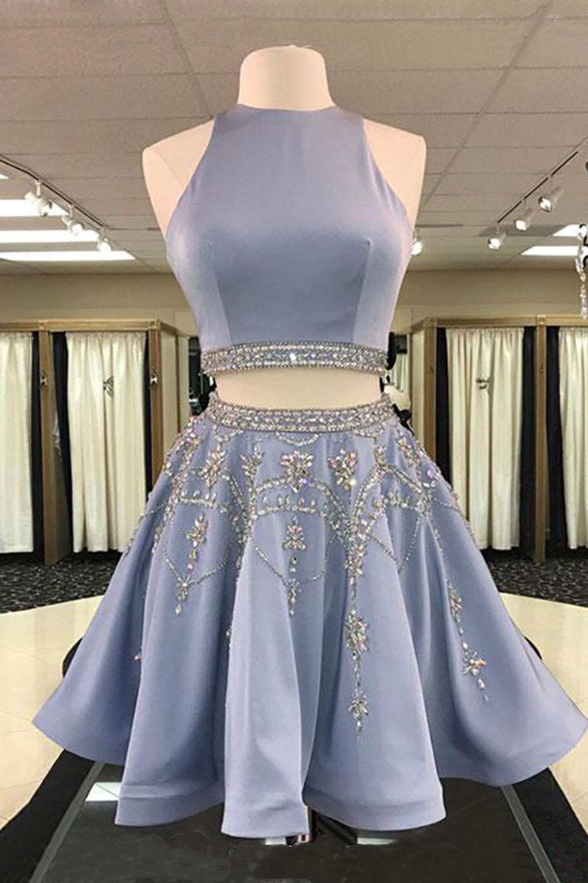 Cute Blue Gray Satin Two Pieces Prom Dress With Sequins And Beading Homecoming Party Dress Two Piece Homecoming Dress Piece Prom Dress Cute Homecoming Dresses [ 1800 x 1200 Pixel ]