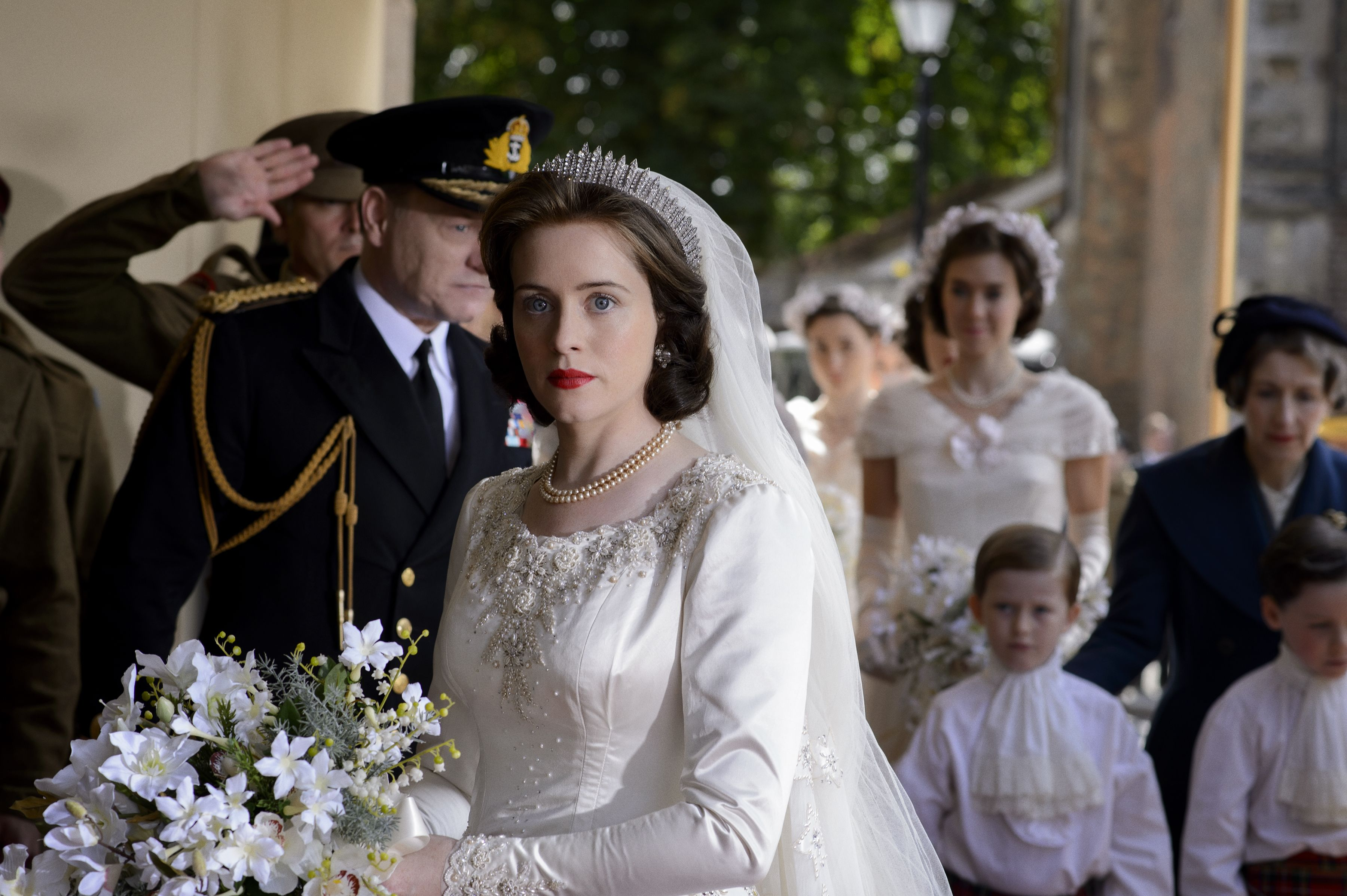 The Crown Season 1 see the stunning costumes and the two