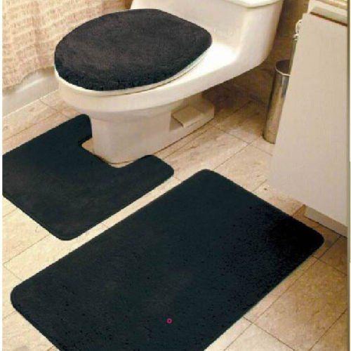 Gorgeoushomelinen 3 Piece Black 6 Bathroom Set Bath Mat Contour And Toilet Lid Cover With Rubber Backing Bath Rugs Sets Bath Rug Rug Sets