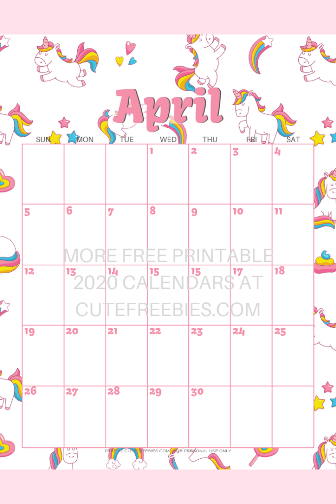 Kawaii Calendar 2020 September October And December Cute Unicorn 2019 2020 Calendar   Free Printable | Cute Freebies
