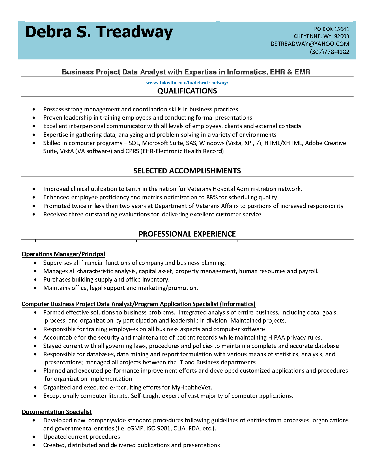 list qualifications business project data analyst resume example ...