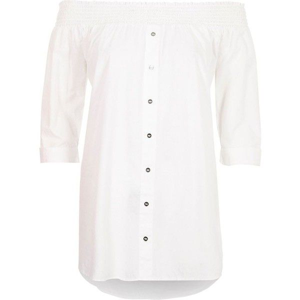 deefa2d97f0 River Island White button front shirred bardot top ( 40) ❤ liked on  Polyvore featuring tops
