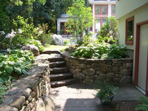 Backyard walk out basement idea if we need retaining for Walkout basement patio ideas