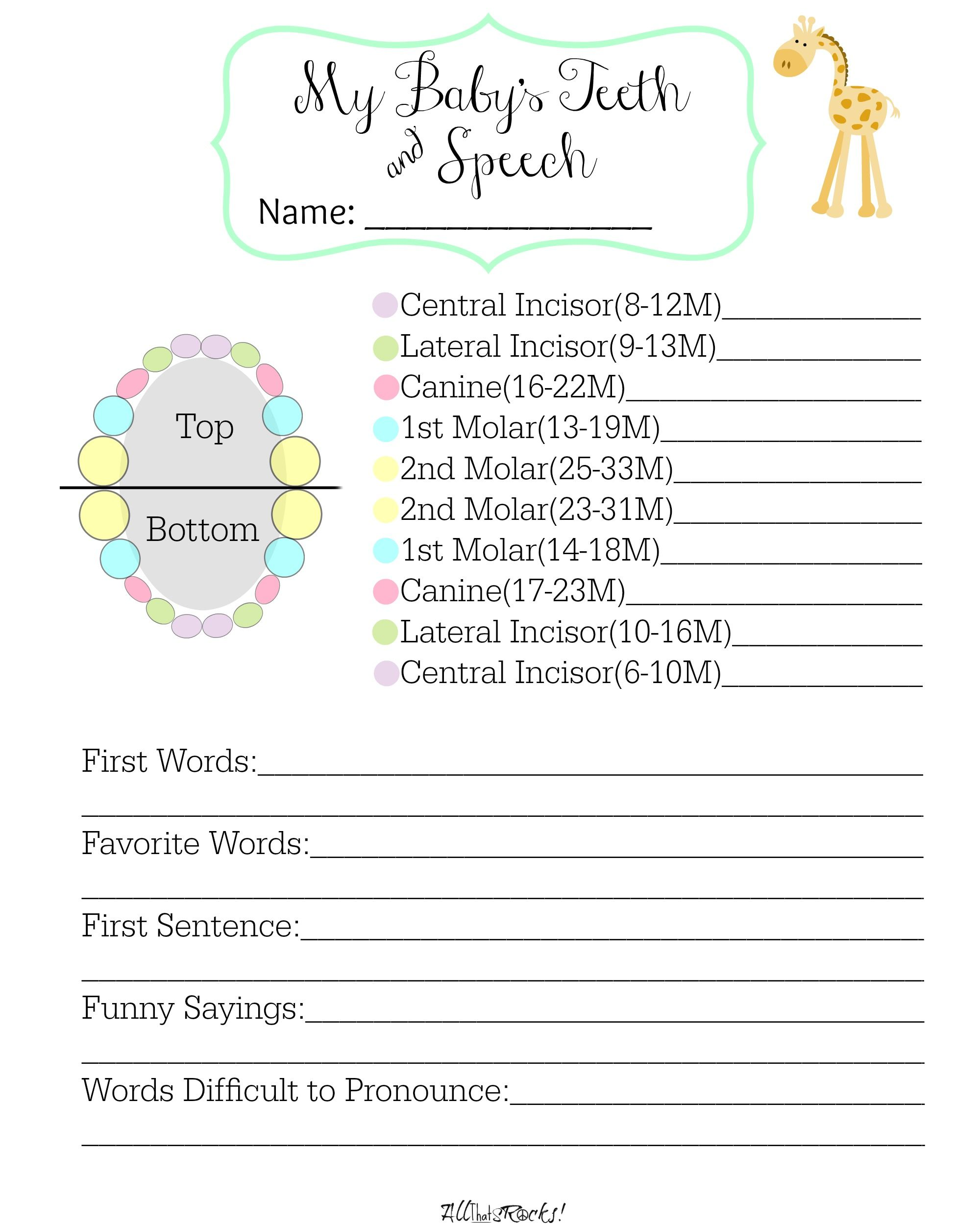 Track Baby S Teeth And Speech With This Free Printable