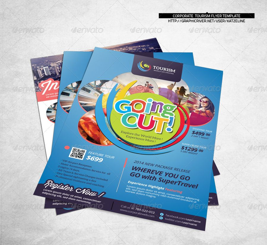 World Travel Tourism Flyer Template Colorful Voyage Corporate
