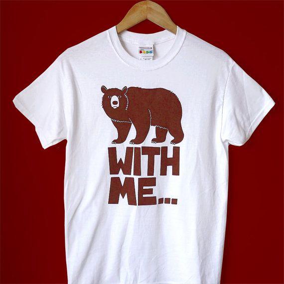 Mens BEAR Tshirt Screenprint Tshirt Animal Tshirt by helloDODOshop