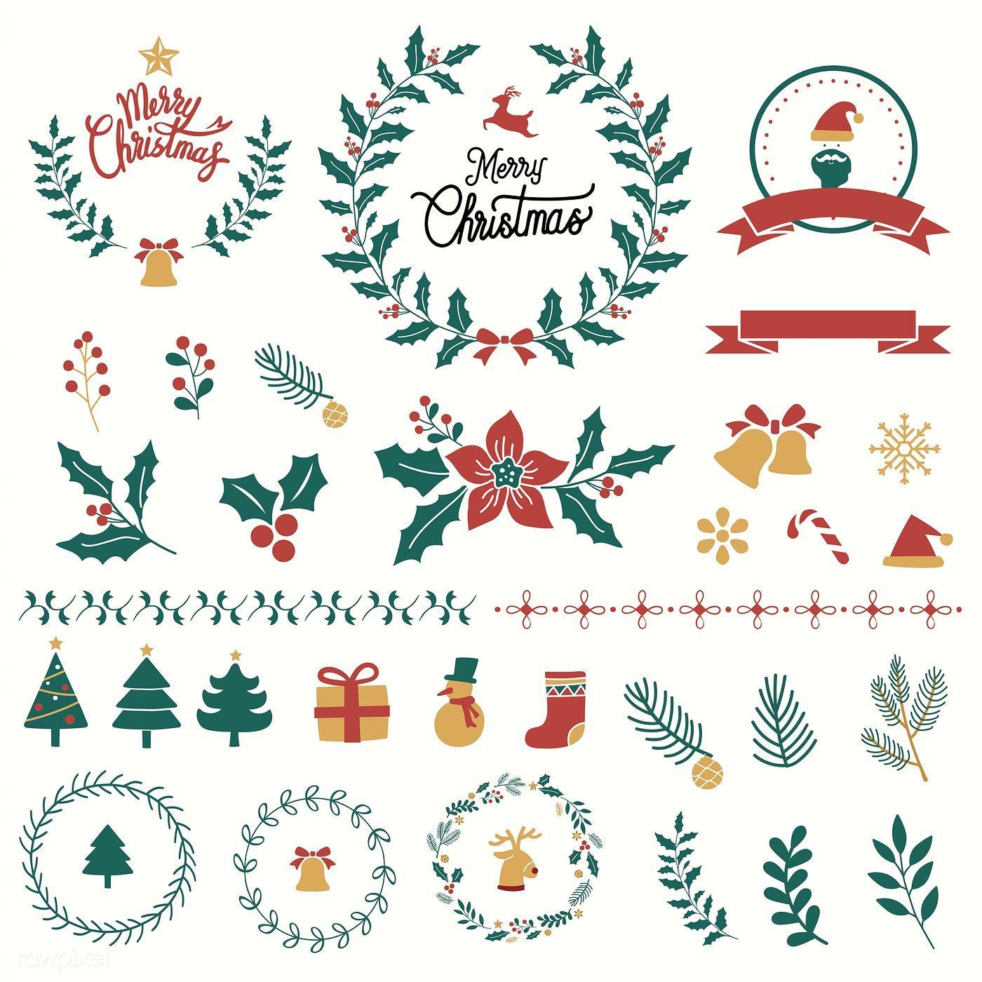 Download Premium Vector Of Illustration Set Of Christmas Decorations 494222 Christmas Illustration Christmas Vectors Christmas Design