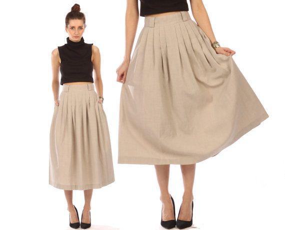 Vintage 80s pleated skirt // khaki maxi midi skirt // flowy ...