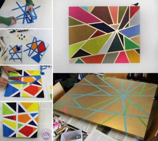 Painting Ideas With Tape: DIY Geometric Painting With Tape Ideas
