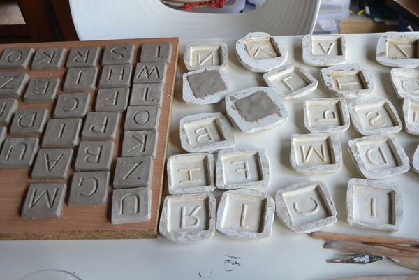 Making clay letter tiles from thescrabble project חימר