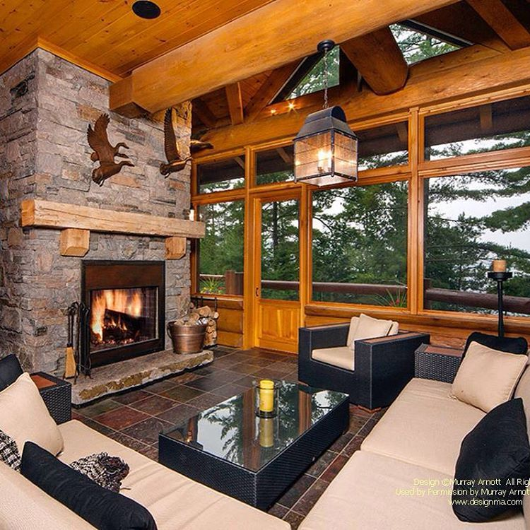 screened porch with fireplace in a waterfront handcrafted log home rh pinterest com
