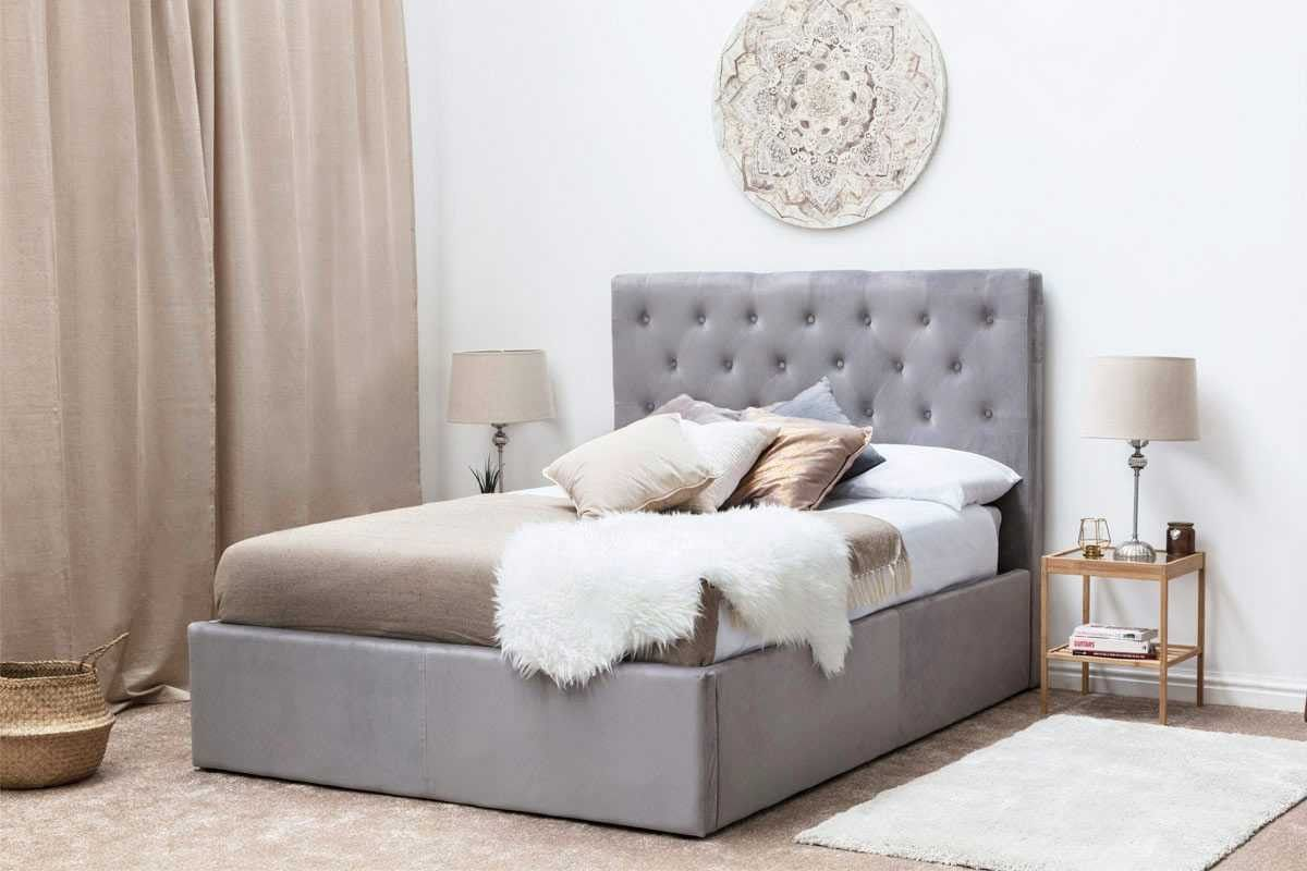 Eltham Grey Velvet Fabric Diamond Cube Buttoned Bed Frame Double
