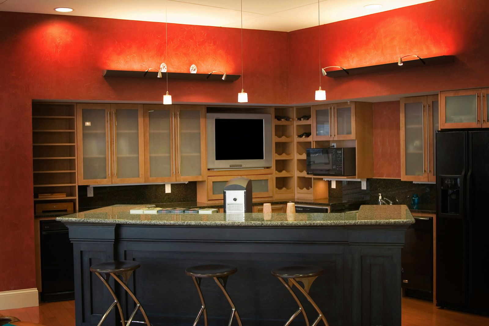 Interior Creative Painted Kitchen Cabinet Color Schemes Romantic Kitchen Ideas With Black Teak Wooden Kitchen Island And Red Wall Paint Color Ideas