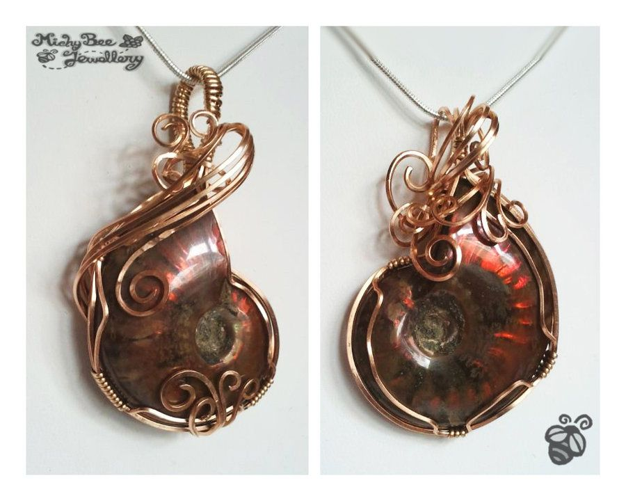 Flaming shells wire wrapped ammonite pendants by drakarus flaming shells wire wrapped ammonite pendants by drakarus aloadofball Images