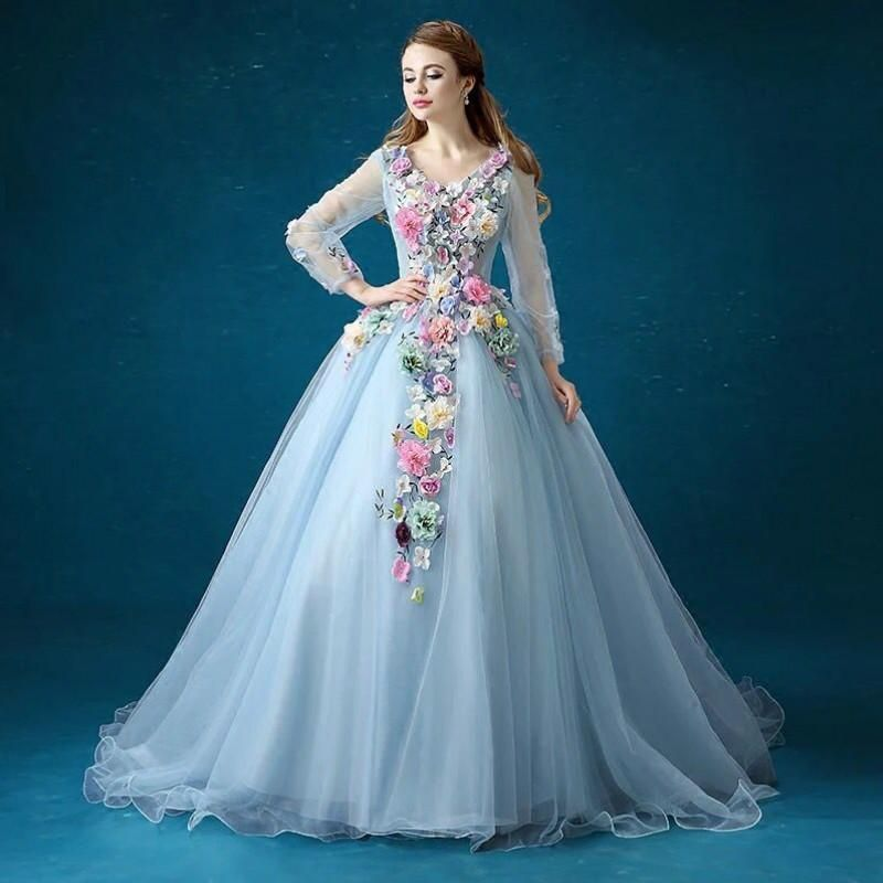 Elegant long sleeves colorful evening dresses 2016 with for Beautiful ball gown wedding dresses