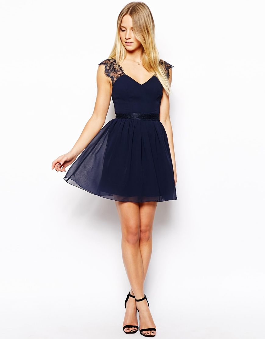 navy eyelash lace skater dress wedding guest dress ...
