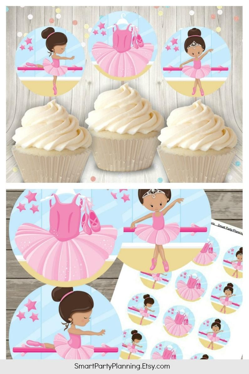 BALLET DANCER BALLERINA CUPCAKE TOPPER PICKS girls birthday party choose no