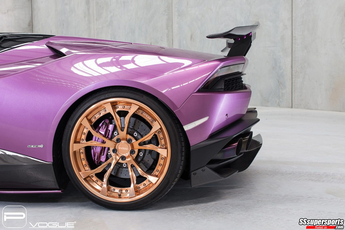 6 Purple Lamborghini Huracan Spyder Gold Rose Pur Wheels Rear Wheel
