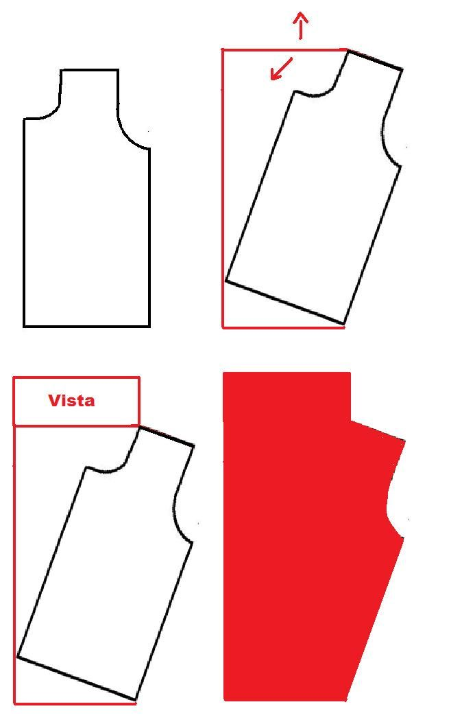 easy way to draft a draped/cowl neckline - the base can be copied from an existing shirt or drafted pattern