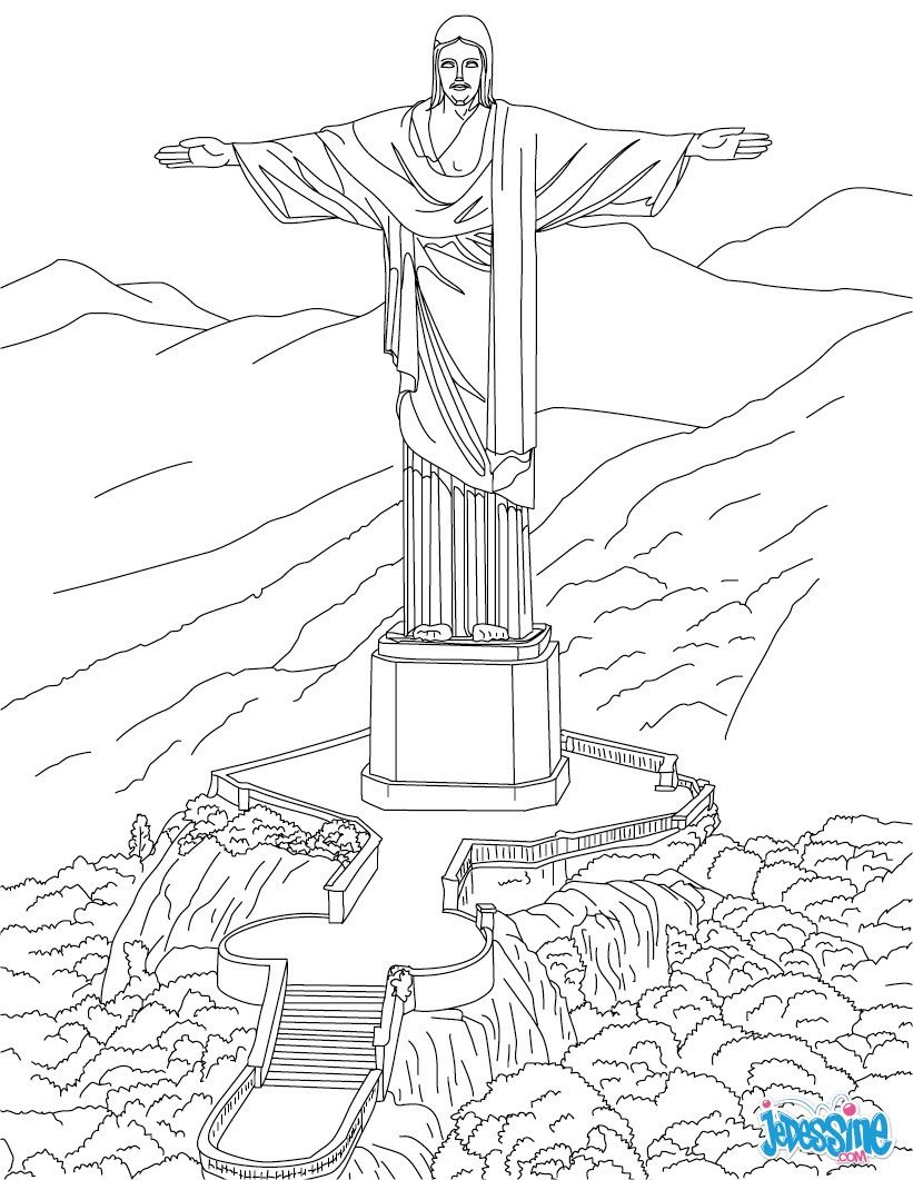 Voici Le Coloriage Du Corcovado Ce Célèbre Monument Se Situe Au