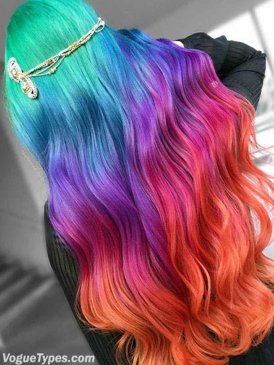 trendy rainbow long hair color