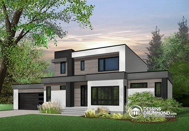W3883 - Maison cubique moderne, bureau à domicile, garde-manger - facade de maison moderne
